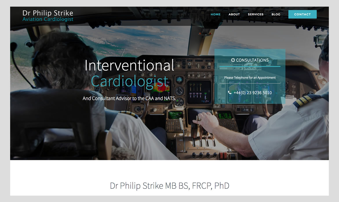 Aviation Cardiologist web development by Red Leaf Chichester