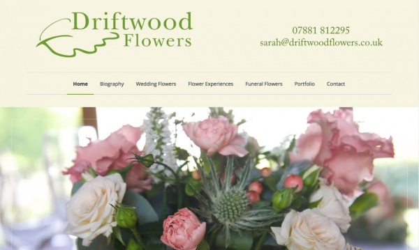Driftwood Flowers Wordpress Website created by Red Leaf Chichester, West Sussex