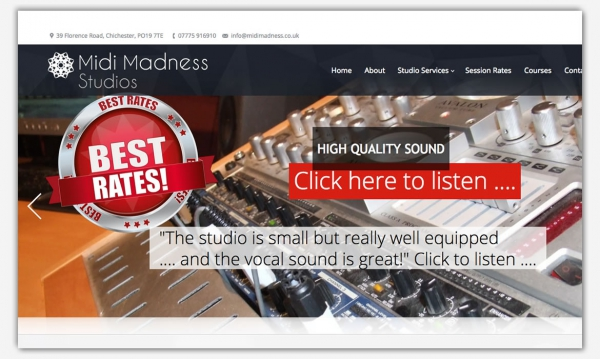 Midi Madness recording Studios Chichester - web development from Red Leaf Design, West Sussex